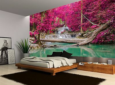 Trees Pink Waterfall Water Nature Wall Mural Photo Wallpaper GIANT WALL DECOR