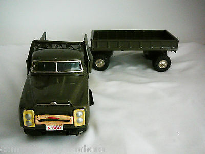 Rare Japan Truck and trailer friction tin toy military transport