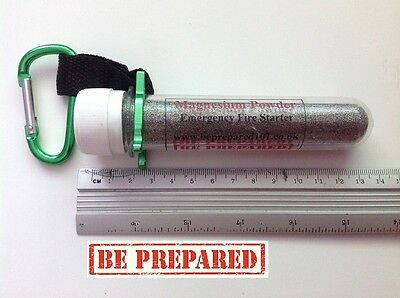 Magnesium Powder Firestarter 30g in a watertight tube with a carabiner clip