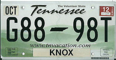 USA American licence plate, number plate, TENNESSEE                     XX