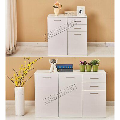 FoxHunter White High Gloss Cabinet Unit Sideboard 2 Drawers 2/3 Doors Modern New