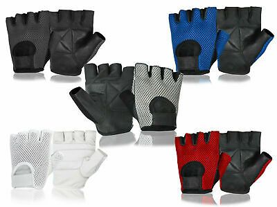 Mens Womens Gym Gloves Half Finger Leather Palm Workout Bodybuilding Training
