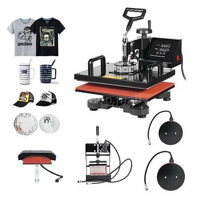 5in1 Heat Press Machine Digital Transfer Sublimation For T-Shirt Hat Plate Q7I7