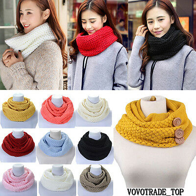 UK Women Ladies Winter Warm Scarves Scarf Wraps Knit Neck Circle Cowl Snood