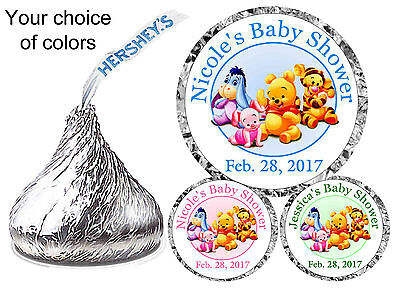 108 Baby Winnie The Pooh Baby Shower Favors Hershey Kiss Kisses Labels