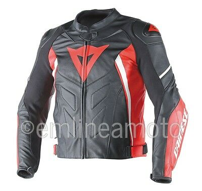 Leather Jacket Dainese Avro D1  Black/Red/White