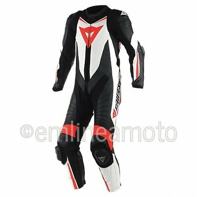 Leather Suit Dainese Laguna Seca D1 1PC Estiva Black/White/Fluo-Red
