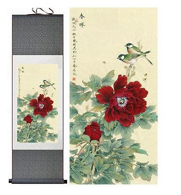 """Birds peony Painting Home Office Decoration Chinese scroll painting 12""""x40"""""""