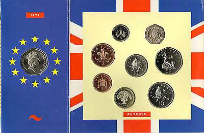 1992 Uncirculated UK Year set BU 9-coin Royal Mint pack with EC 50p