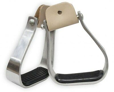 Showman Angled Off Set Aluminum Stirrup w/ Removable Rubber Tread NEW HORSE TACK