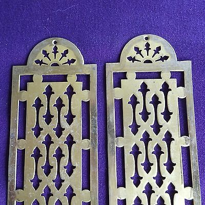 2 Vintage Push Plates Art Deco Brass French Touch Door Hardware Retro Mission