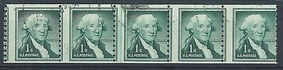USA 1954 1c Washington imperf x perf 10 sg1054 horizontal strip of 5 all with 3m