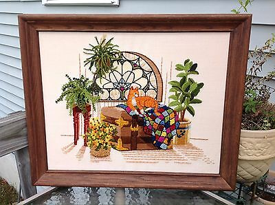 "Vintage Completed Tabby Cat on Chest Framed Crewel Embroidery w 3D Ferns 23""x19"""
