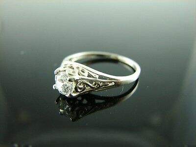 Sterling Silver Antique Style Filigree Ring With White CZ Gemstone 4mm Ring Size