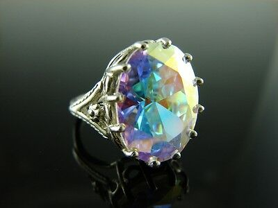 Sterling Silver Antique Style Filigree Ring With Mercury Mist Topaz Gemstone 16x
