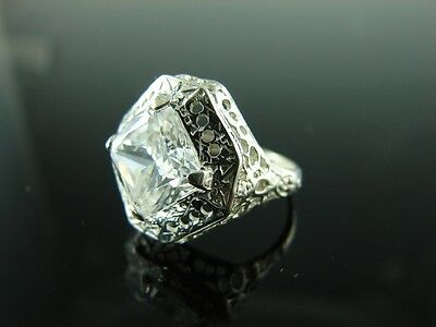Sterling Silver Antique Style Filigree Ring With White CZ Gemstone 9mm Gemstone