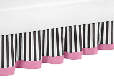 Queen Size Bed Skirt Dust Ruffle For Jojo Pink Black And White Paris Bedding Set