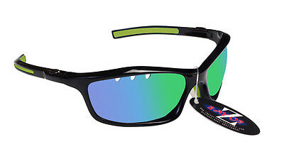 RayZor Uv400 Black Vented Green Mirrored Lens Cricket Wrap Sunglasses RRP£49