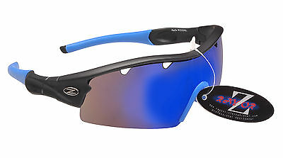 RayZor Grey Uv400 1 Pce Vented Blue Mirrored Cricket Wrap Sunglasses RRP£49