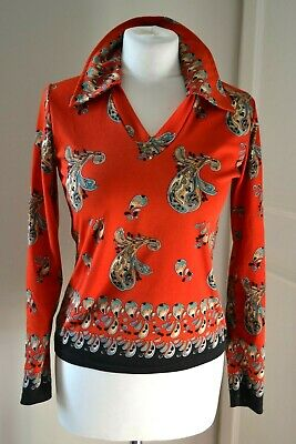 VINTAGE 1970s MARK BOYS red and black paisley long sleeve top with collar