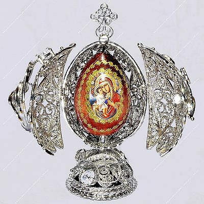 "5.7"" Easter Filigree Egg Icon Religious St-Petersburg Russian Faberge Traditions"