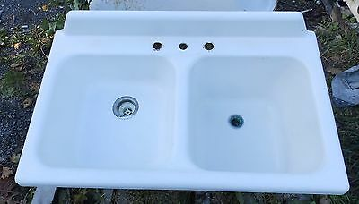 "Antique Cast Iron Porcelain 42"" Farm Sink Double Basin Vtg Deep Shallow 1877-16"