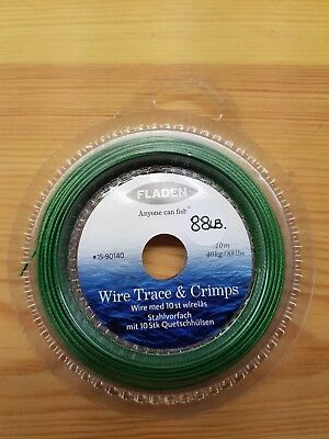 10 Meters of Weedy Green 88lb 7 Stand Trace Wire + 2 Free Gifts Worth £3.50.