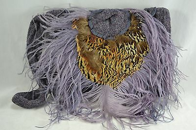 VINTAGE purple wool knitted muff with feathers c.1940s/50s