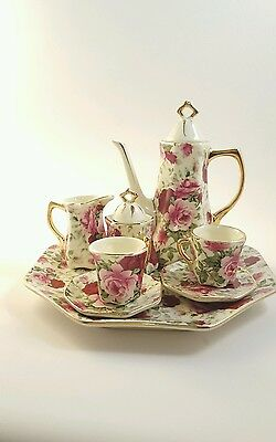 Chintz Wear child's Rose Pink Red Mini Porcelain Tea Set .....Free Gift wrap