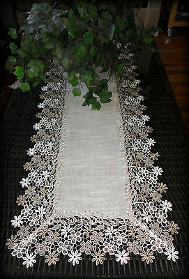 "54"" Dresser Scarf  Doily Sophisticated Floral Neutral Daisy Table Runner"