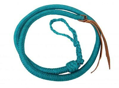 Showman TEAL 4 1/2' Braided Nylon Over & Under Whip w/ Leather Popper! NEW TACK