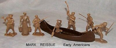 Marx reissue early American figures + canoe toy soldiers in tan