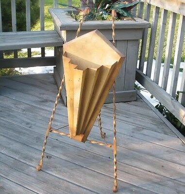 Antique Easel Umbrella Funeral Cemetery Wrought Iron Metal Old Flower Stand Rack