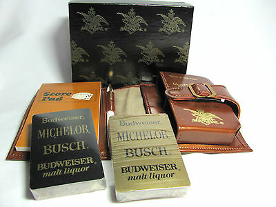 2 Decks Unused Budweiser Michelob Busch Playing Card Kit Faux Leather Case