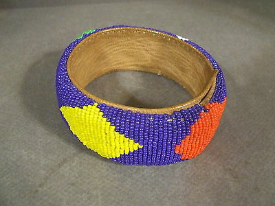 Vintage African Bracelet Cuff Bangle Leather And Seed Bead