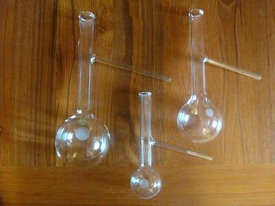 3 Pyrex Distillation Boiling Flasks w/ Side Arms 50ml 125ml 250ml Lab Chem Glass