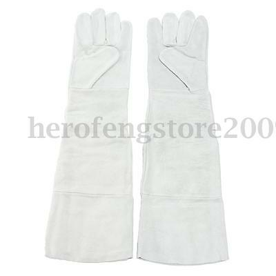 1 Pair 58cm Long Cuff Soft Leather Electric Welding Gloves Heat Gear Protective