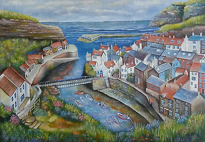 Staithes, Yorkshire - Signed Limited Edition print of Acrylic Landscape Painting