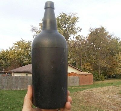 P&S RENDORP AMSTERDAM EARLY PONTILED BLACKGLASS 3 PC MOLD ALE BOTTLE 1840s DUG