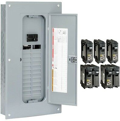 Indoor Main Breaker Panel Box 100Amp 24-Space 48-Circuit Load Center Value Pack