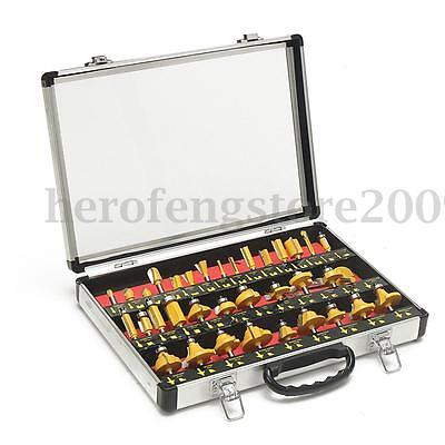 Wood Workers 35 piece 1/4'' Router Bit Set in Aluminium Case Woodworking Tool