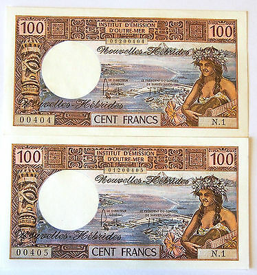 New Hebrides - 100 Franc Banknotes - 1975  Consecutive Pair - Uncirculated Grade