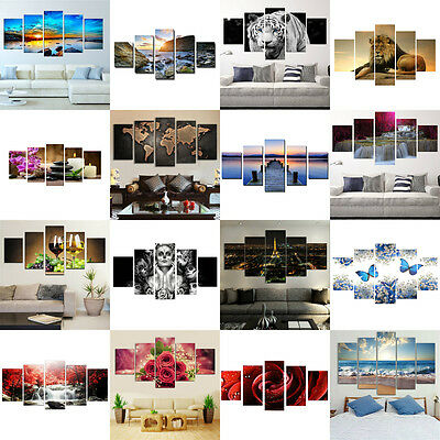 NEW 5PCS Modern Art Oil Paintings Canvas Print Wall Unframed Pictures Home Decor