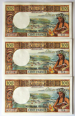 New Caledonia - 100 Francs Banknotes - 1971 - Uncirculated - Consecutive Trio