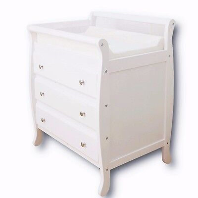Change Table Baby Chest 3 Drawers Dresser Cabinet Changer Nursery w/ Change Mat
