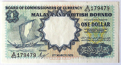 Malaya and British Borneo One Dollar Banknote - 1959 - about Uncirculated Cond.