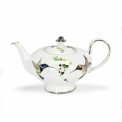 "10"" 32 Oz White Bone China Hummingbird Teapot"