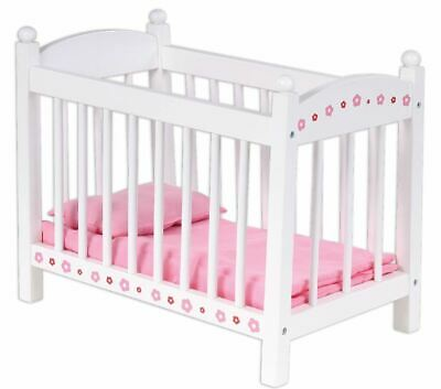 New Bubbadoo Wooden Baby Dolls Bed Kids Toy Set