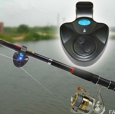 Black Electronic LED Light Fish Bite Sound Alarm Bell Clip On Fishing Rod