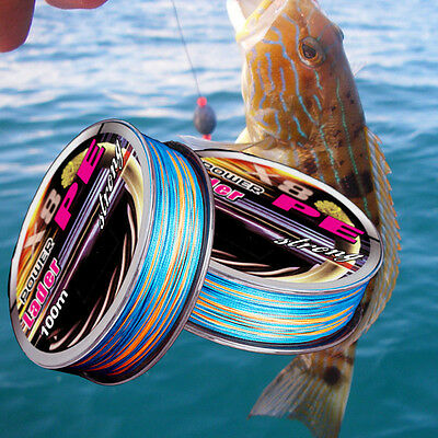 Hot 100M X8 8Strands Colorful Super Strong Power PE Braided Fishing Line 18-60LB